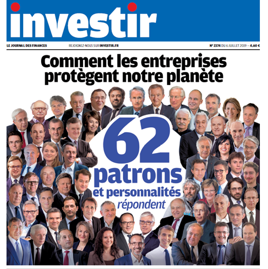 Nicolas Rochon, President of RGREEN INVEST, responds to Investir along with 61 other decision-makers and personalities on their role in addressing environmental issues through an opinion column published in the special issue of the publication.